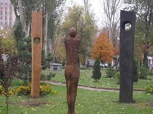 Standort der Skulpturengruppe in Donezk/Ukraine