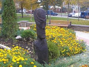 Standort der Holzskulptur in Donezk/Ukraine